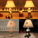 Cute Beige Tapered Reading Light with Animal Decoration 1 Light Fabric Desk Lamp for Bedroom
