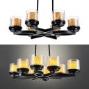 American Rustic Black Chandelier Cylinder Candle 6/8 Lights Metal Hanging Lamp for Bar