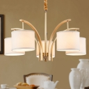 Traditional White Hanging Light Drum Shape 3/5 Lights Metal Fabric Chandelier for Bedroom Hallway
