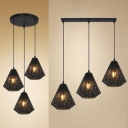 Diamond Restaurant Ceiling Light Metal 3 Lights Creative Linear/Round Canopy Hanging Lamp in Black