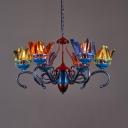 Cafe Restaurant Badminton Chandelier Metal Colorful Feather Industrial Pendant Light