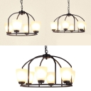 American Rust Bowl Shade Chandelier 4/6/8 Lights Frosted Glass Pendant Lamp in White for Bedroom