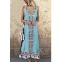 Hot Fashion V-Neck Tribal Printed Tassel Hem Tank Maxi Dress For Women