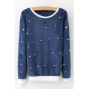 Girls Contrast Trim Round Neck Long Sleeve Beaded Embellished Casual Pullover Sweatshirt