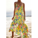 Women's Hot Fashion V-Neck Sleeveless Floral Printed Maxi Swing Slip Yellow Dress