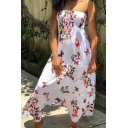 Women's Fashion Convertible Off The Shoulder Butterflies Printed Midi Slip Dress
