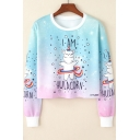 I AM HULACORN Letter Tie Dye Galaxy Star Rainbow Unicorn Printed Round Neck Long Sleeve Cropped Sweatshirt