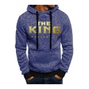 Mens Simple Cool Letter THE KING Printed Casual Loose Sport Drawstring Hoodie
