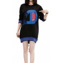DISOO Letter Hand Printed Colorblock Striped Long Sleeve Tunic Sweatshirt