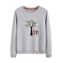 Cartoon Cats Tree Floral Print Round Neck Long Sleeve Sweatshirt