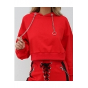 Solid Color Batwing Sleeve Metal Chain Drawstring Cropped Hoodie