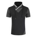 Men's Hot Fashion Colorblock Drawstring Funnel Neck Short Sleeve T-Shirt