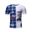 Trendy Letter I DON'T KNOW Plaid Printed Round Neck Short Sleeve Slim Fit T-Shirt