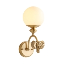White Globe Shade Sconce Light 1 Light Creative Metal Wall Lamp with Elephant for Kid Bedroom