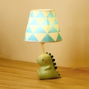 Blue Tapered Shade Desk Light with Cartoon Dinosaur 1 Light Cute Resin LED Night Light for Boy Bedroom