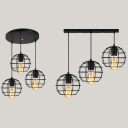 Shop Globe Cage Pendant Lamp Metal 3 Lights Antique Black Linear/Round Canopy Ceiling Light