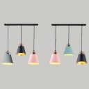 Macaron Bucket Shade Island Light Metal 3 Lights Suspension Light for Dining Room Foyer