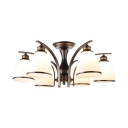 6/8/10 Lights Bell Ceiling Light Antique Metal Semi Flush Mount Light in Black/Gold for Hotel