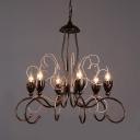 Antique Copper Candle Chandelier 6 Lights Industrial Metal Hanging Light for Living Room