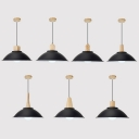 1 Light Bowl Hanging Light Antique Style Aluminum Pendant Lamp in Black for Dining Room