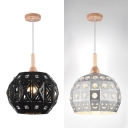 1 Light Orb Hanging Light Industrial Metal Suspension Light with Clear Crystal in Black/Silver for Shop
