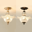3 Lights Flower Semi Flush Light Traditional Clear Glass Ceiling Lamp in Black/Gold for Hotel