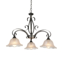 Flower Living Room Hanging Lamp Frosted Glass 3 Lights Antique Style Island Lamp in White