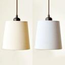 Modern Style Tapered Pendant Light 1 Light Fabric Hanging Light in Off-white/Gray Blue for Restaurant