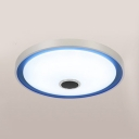 Round Living Room LED Ceiling Light Acrylic 7-Color Remote Control Music Flushmount in Blue/Purple