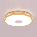 Living Room Slim Panel Ceiling Light Warm White & Multi-Color Remote Control LED Flushlight in Black/Yellow