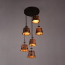 Brown Barrel Suspension Light 6 Lights Antique Wood Ceiling Pendant with Linear/Round Canopy for Cafe