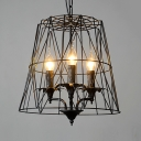 Black Candle Hanging Light 3 Lights American Rustic Metal Ceiling Pendant with Trapezoid Cage for Kitchen