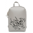 Lovely Cartoon Dog Print Solid Color PU Leather Backpack for Girls 22*16*6 CM