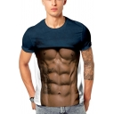 Cool Funny 3D Fake Muscle Printed Basic Round Neck Short Sleeve Slim Tee