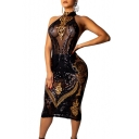 Womens Sexy Black Halter Neck Open Back Sheer Sequined Midi Bodycon Night Club Dress