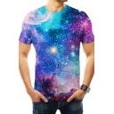 Trendy Fashion Blue Galaxy Printed Basic Round Neck Short Sleeve T-Shirt