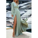 Women's Summer Bohemian Style V-Neck Long Sleeve Split Side Plain Holiday Maxi Flared Dress