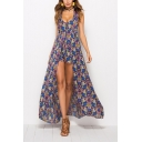 Summer New Trendy Floral Pattern Halter V-Neck Open Back Sleeveless Patched Romper Chiffon Beach Flowy Dress