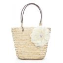 Summer Fashion Plain Lace Flower Embellishment Beige Straw Tote Bag Portable Beach Bag 21*13*20 CM