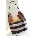 Fashion Classic Color Block Stripe Pattern Canvas Shoulder Bucket Bag 28*18*34 CM
