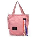 Popular Letter Patchwork Colored Ribbon Embellishment Canvas Crossbody Shoulder Bag 33*5*36 CM