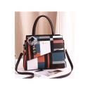 New Stylish Color Block Plaid Pattern Commuter Tote Handbag 33*13*25 CM