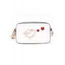 Funny Pig Heart Embroidered PU Leather Shoulder Crossbody Bag for Women 19*11*8 CM