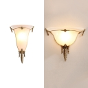 Gallery Cone Shade Sconce Lamp Frosted Glass 1 Light Colonial Style White Engraved Wall Light