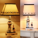 White Lighthouse LED Desk Light Dimmable 1 Light Nautical Style Fabric Nightlight for Bedroom