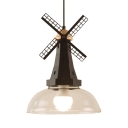 Industrial Black Ceiling Pendant Dome Shade 1 Light Clear Glass Hanging Light with Windmill for Restaurant