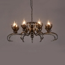 Fake Candle Restaurant Chandelier Wrought Iron 8/10 Lights Antique Style Pendant Light in Bronze