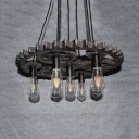 Glass Open Bulb Hanging Light 7 Lights Antique Pendant Light with Gear in Aged Brass for Bar