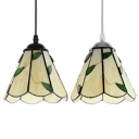 Rustic Black/Silver Chain Pendant Light with Leaf 1 Light Glass Hanging Lamp in Beige for Hallway