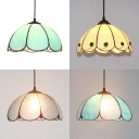 Tiffany Modern Pendant Light with Petal Shade & Beads 1 Light Glass Hanging Lamp for Bedroom